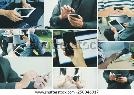 Collection hand using digital tablet. - stock photo