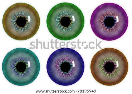 Collection illustration of six pupil of the eye - stock photo