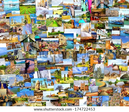 collection images used as a background with several  destinations from all over the world  - stock photo