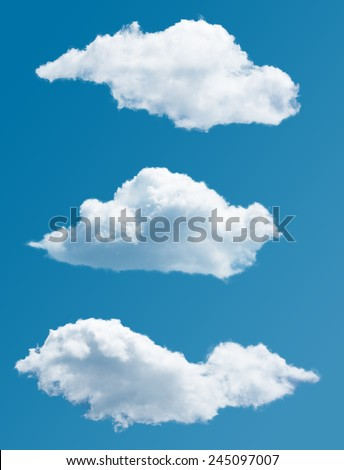 collection isolated picturesque clouds  - stock photo