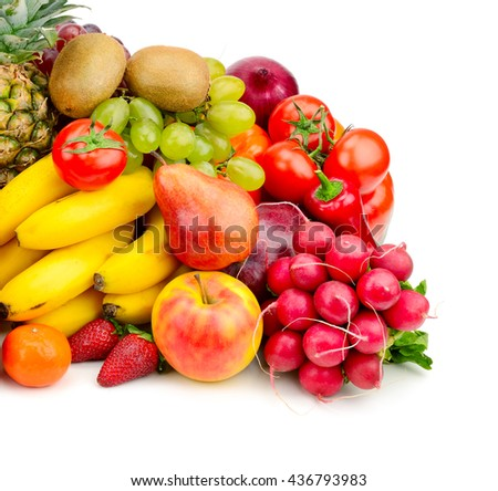 Collection juicy fruits and vegetables isolated on white - stock photo