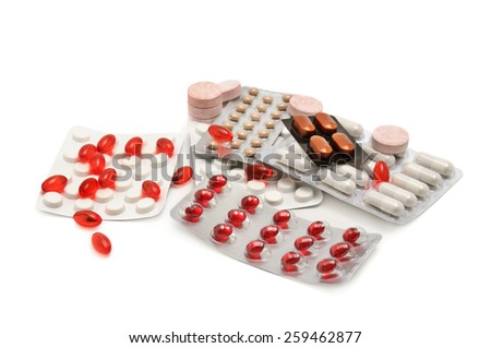 Collection medication isolated on white background. - stock photo