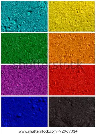 Collection od colorful powder background - turquoise, yellow, green, orange, violet, red, blue, black - stock photo