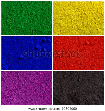 Collection od colorful powder background - yellow, green, violet, red, blue, black - stock photo