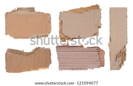 Collection of a cardboard pieces on white background - stock photo