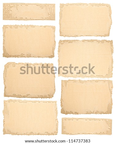 Collection of a different cardboard pieces on white background - stock photo