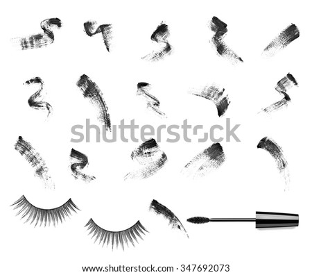 collection of a mascara  shapes on white background. each one is shot separately - stock photo