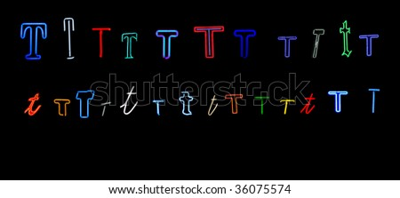 collection of a number of different neon letter T isolated on black - part of a series of neon letters - stock photo
