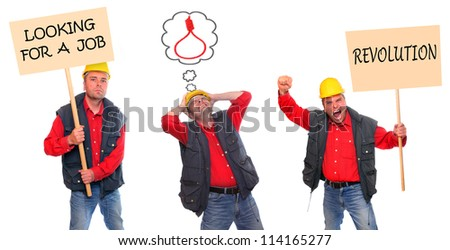 Collection of a unemployment workers. Sign boards for your text. - stock photo