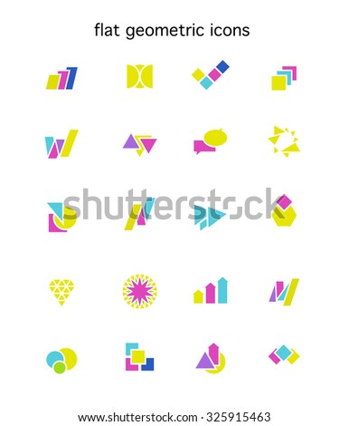 Collection of abstract flat logo with arrows, letters, triangles, diagrams, circles, stars, text boxes. Set of geometric icons. Good for business or industry company identity. Company insignia design. - stock photo