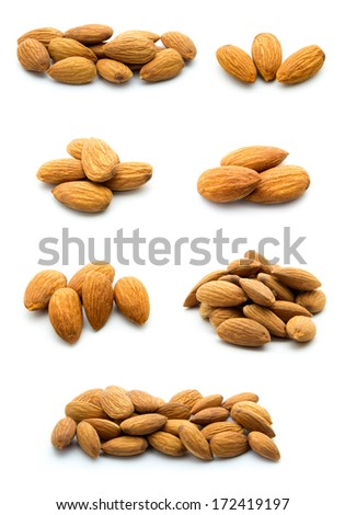 collection of almonds isolated on white background - stock photo