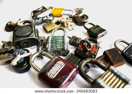 Collection of antique locks - stock photo