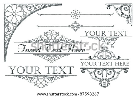 Collection of antique-style design elements - stock photo