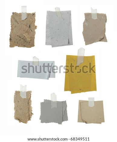 collection of any different type of paper attached with tape on white background - stock photo