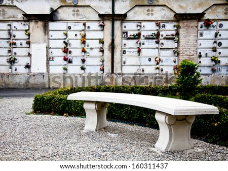 Collection of architectures examples in European cemetaries - stock photo