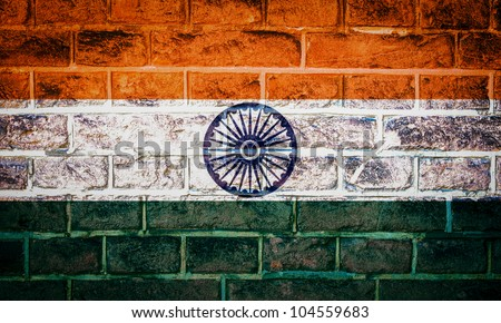 Collection of Asian flag on old brick wall texture background, India - stock photo