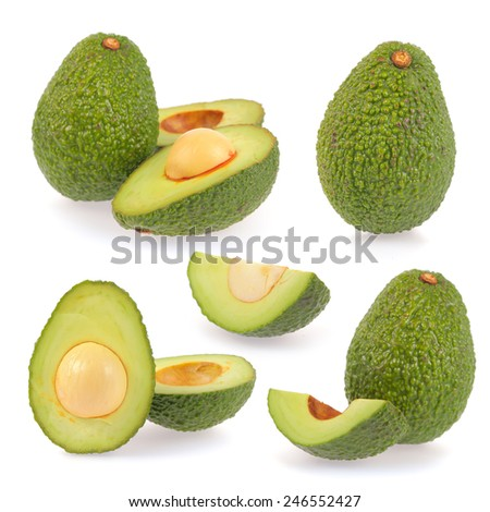 Collection of avocado isolated on white background - stock photo