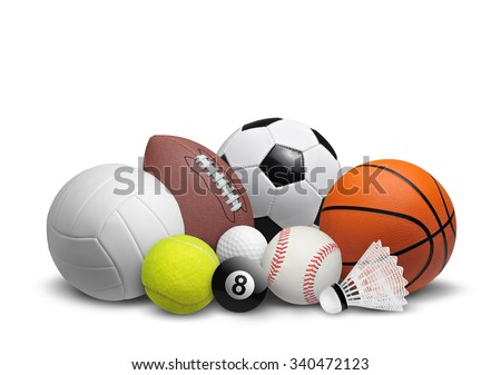 Collection of balls isolated on white background - stock photo