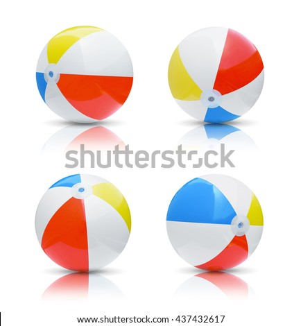 Collection of beach balls isolated on white background - stock photo