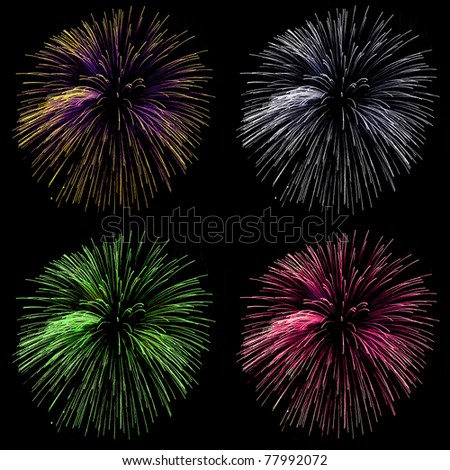collection of beautiful fireworks on black background - stock photo