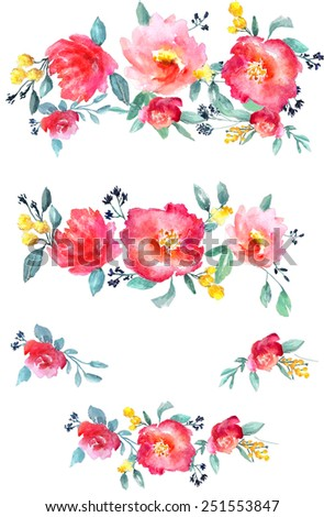 Collection of beautiful hand-drawn watercolor flowers isolated on white background, raster illustration - stock photo