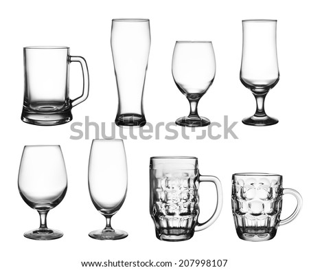Collection of beer cup glasses isolated on white - stock photo