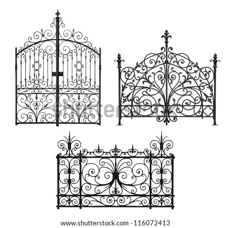 Collection of black forged gates and forged decorative lattice with flowers isolated on white background - stock photo