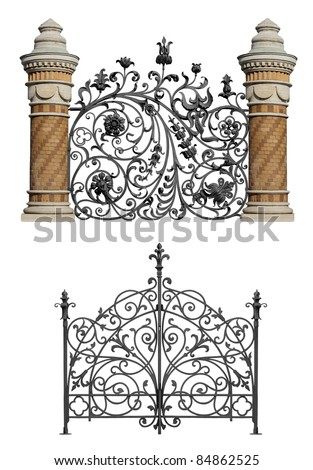 Collection of black forged gates with decorative lattice isolated on white background - stock photo