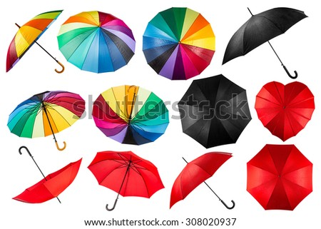collection of black red and rainbow umbrellas isolated on white background - stock photo