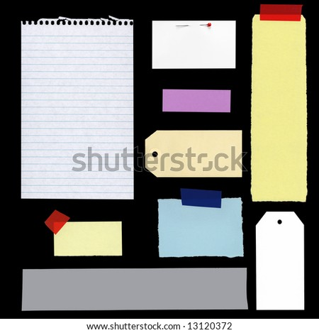 Collection of blank notes and tags, isolated on black.  XXL file. - stock photo