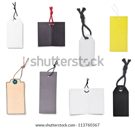 collection of blank price labels on white background. each one is shot separately - stock photo
