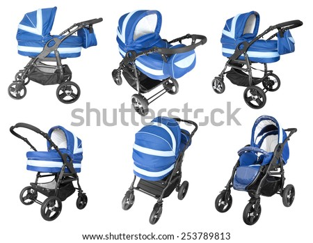 collection of blue baby strollers isolated on white background - stock photo