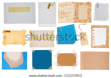 Collection of blue paper notes and tags - stock photo
