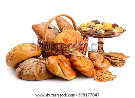 Collection of bread products isolated on white background - stock photo