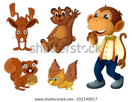 Collection of brown animals on white - EPS VECTOR format also available in my portfolio. - stock photo
