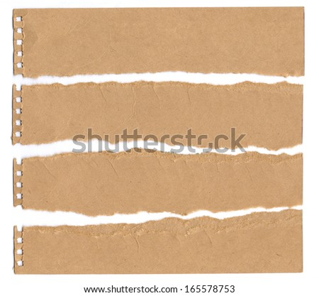Collection of brown paper tears, isolated on white with background - stock photo