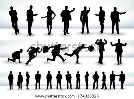 Collection of business people outlines in different positions, mainly in the theme of presentation and running - raster version of vector illustration - stock photo