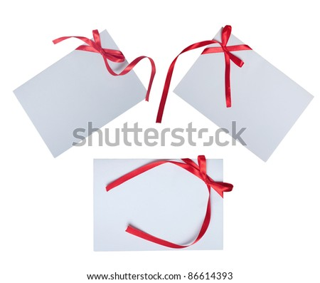 collection of card note with ribbon on white background - stock photo
