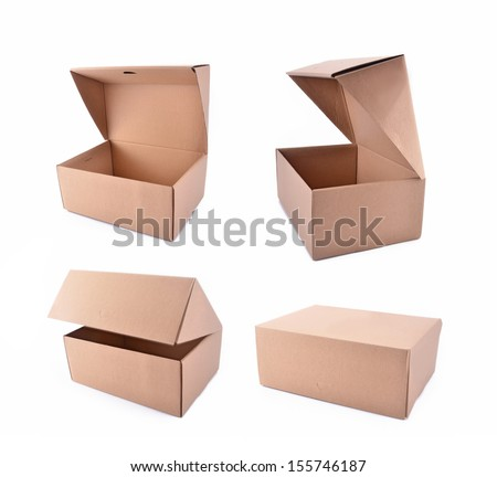 Collection of cardboard boxes isolated on white background  - stock photo
