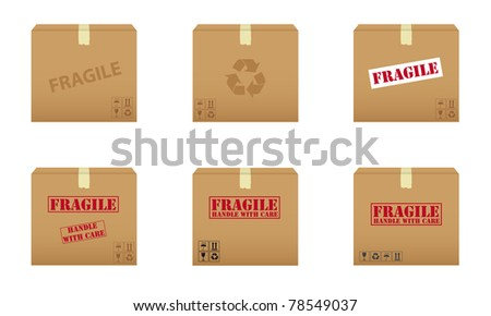 Collection of cardboard boxes. Vector available. - stock photo