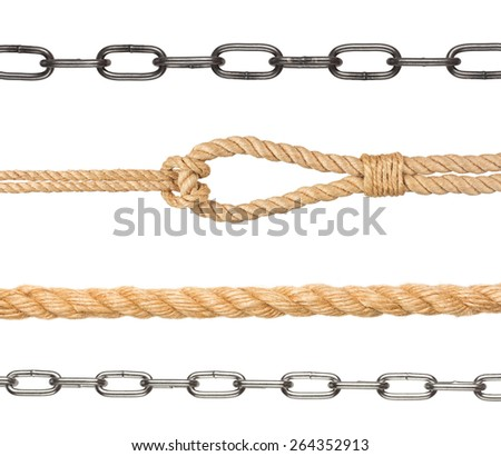 collection of chain and ropes on white background - stock photo