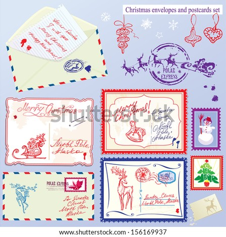 Collection of Christmas envelops, postcards, stamps and hand drawn texts and pictures - Christmas and New Year postage set. Raster version - stock photo