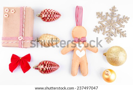 Collection of Christmas objects isolated on white - stock photo