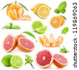 Collection of citrus with mint isolated on white background - stock photo