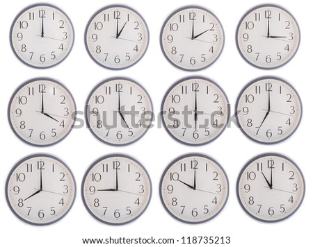 collection of clock from 12 to 11 isolated in white background - stock photo