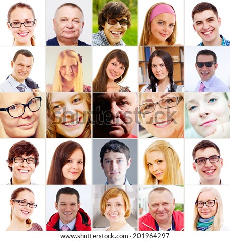 Collection of 25 close-up people portraits - stock photo