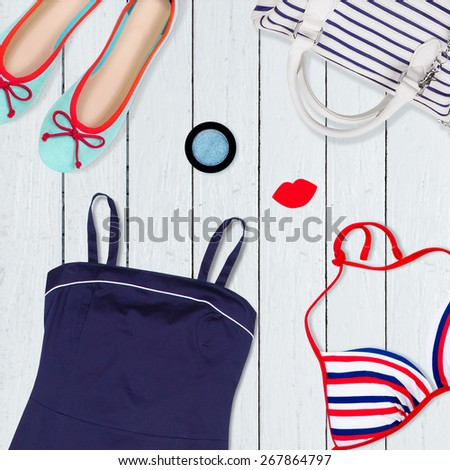 collection of clothes on holiday - stock photo