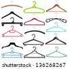Collection of coat hangers isolated on white background - stock photo