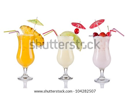 Collection of cocktail drinks, isolated on white background - stock photo