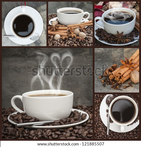 Collection of coffee and caffeine related items - stock photo
